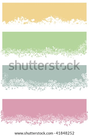 Each rectangle and its elements are grouped together on separate layers. White and colored portions of small elements are filled and not cut out. Orange rectangle white area is one single shape - stock vector