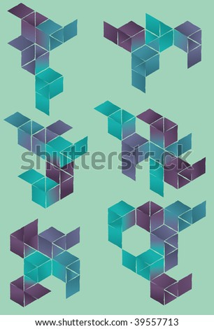 Each set is grouped on separate layer. Ragged outlines are part of main shape and not separate stroke. Simple linear gradients used. - stock vector