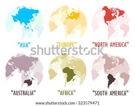 Each world continent logo on white background.(EPS10 Art vector separate part by part) - stock vector