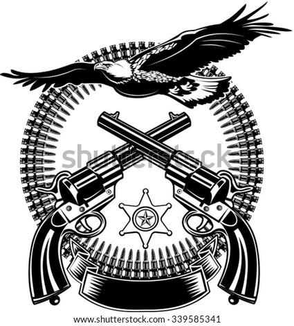 Eagle and Guns - stock vector