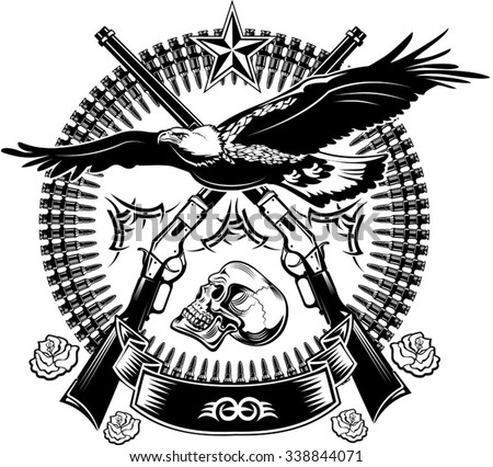 Eagle and rifle - stock vector
