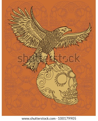 eagle and skull - stock vector