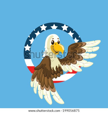Eagle and USA flag patterned circle illustration (Independence Day) - stock vector