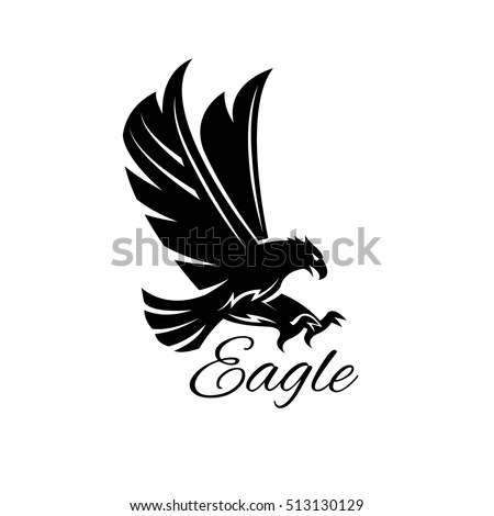 Eagle bird icon. Vector heraldic emblem of powerful wild falcon with stretching clutches. Symbol of eagle hawk predator for sport team mascot shield, company badge, guard service, hunting club label