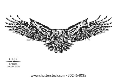 Eagle. Black and white hand drawn doodle bird. Ethnic vector illustration. African, indian, totem, tribal, zentangle design. Sketch for adult colouring page, tattoo, poster, print, t-shirt, laser cut - stock vector