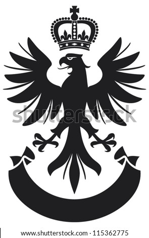 eagle coat of arms design (eagle, crown and banner) - stock vector
