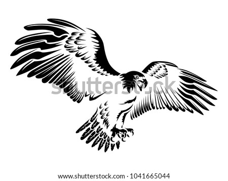 Eagle Emblem Isolated On White Illustration Stock Vector 1041665044