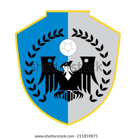 eagle emblem with shield - stock vector