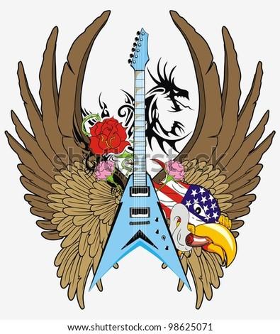 eagle flying guitar - stock vector