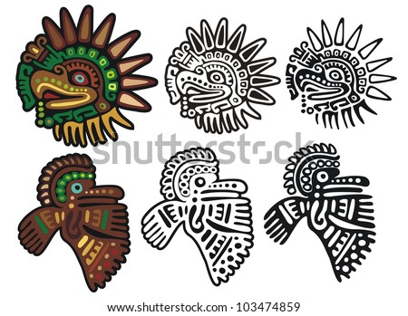 Eagle gods, mayan glyphs - stock vector