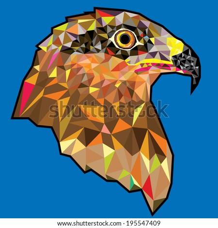 Eagle  head in geometric pattern - stock vector