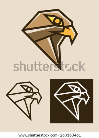 Eagle head vector illustration usable as a template logo. It is a modern and polygonal illustration representing the head of an eagle, hawk or bird of prey. - stock vector
