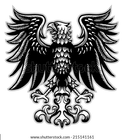 eagle heraldry in classic pen style - stock vector