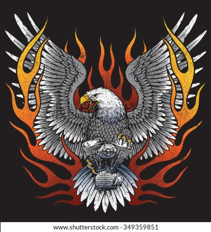 Eagle holding motorcycle engine with flames - stock vector