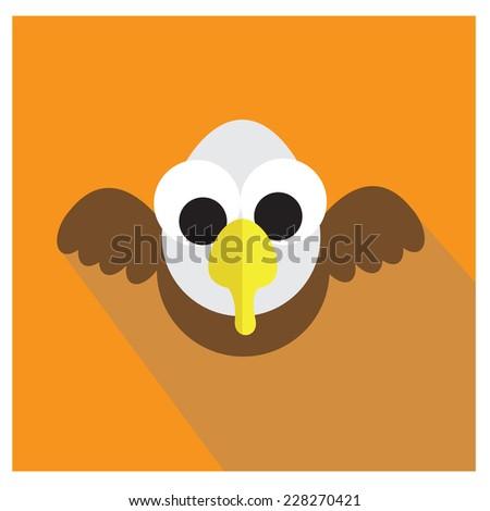 eagle icon cartoon style vector - stock vector