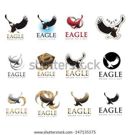 Eagle Icons Set - Isolated On White Background - Vector Illustration, Graphic Design Editable For Your Design. Eagle Logo - stock vector