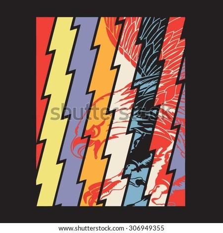 Eagle illustration, t-shirt graphics, vectors, typography - stock vector