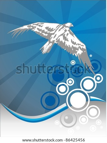 eagle in background of blue waves - stock vector