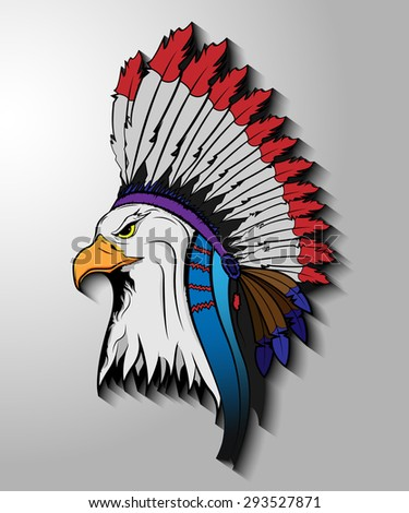 Eagle in the national Indian hat. - stock vector