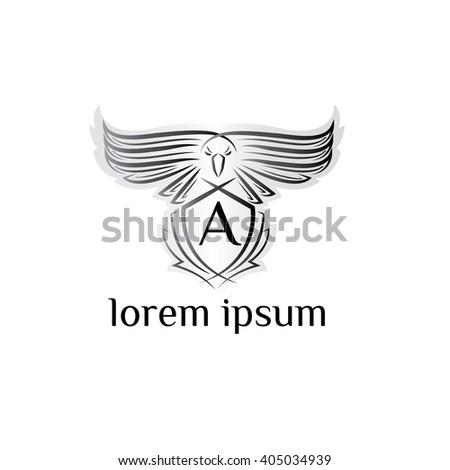Eagle letter A Logo, bird logo,Phoenix logo,Vector Logo template. Bird of prey logo.  - stock vector