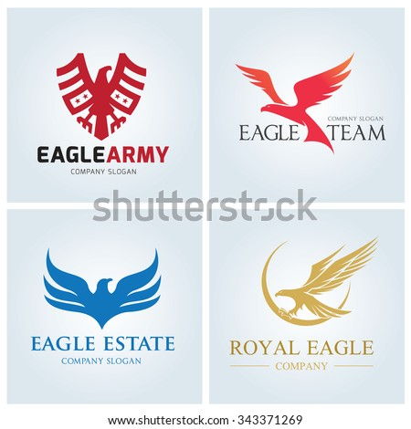 Eagle logo set,eagle logo collection,vector logo template - stock vector