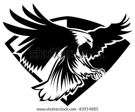 Eagle Mascot Flying Wings
