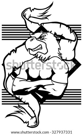 eagle mascot muscle crest shield tattoo in vector format very easy to edit - stock vector