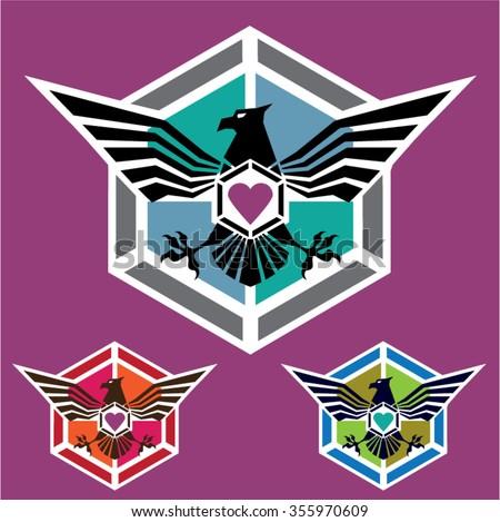 Eagle polygon Logo vector - stock vector