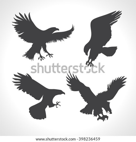 Eagle Silhouettes Set.  Vector silhouettes on white background. Eagles icons and logo templates. Flying eagle - stock vector