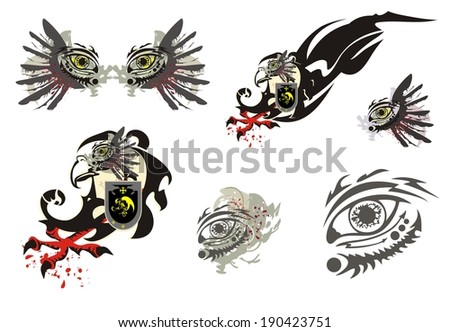 Eagle symbol and ornate eye - stock vector