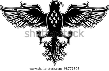 Eagle symbol isolated on white for tattoo design - stock vector
