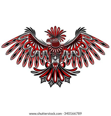 Eagle Tattoo Style Haida Art - stock vector