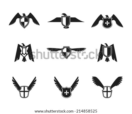 Eagle wings spread lift up and open symbolic protective imperial shield pictograms collection black isolated vector illustration. - stock vector