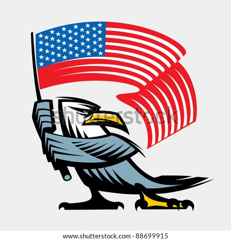 Eagle with American flag - stock vector