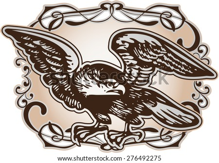 Eagle with decoration - stock vector