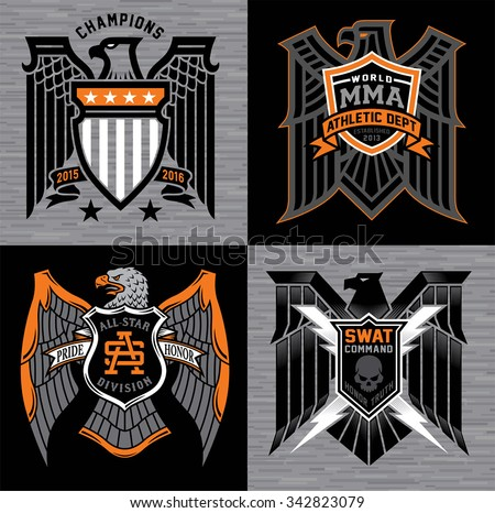 Eagle with shield crest badges - stock vector