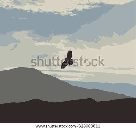 eagle with spread wings - stock vector