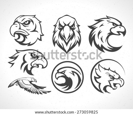 Eagles logos emblems template set mascot symbol for business or shirt design. Vector Vintage Design Element. - stock vector