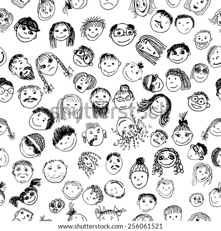 eamless background stick figure faces. Vector