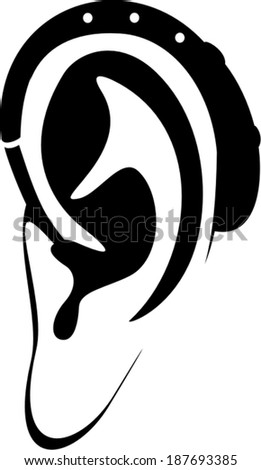 Ear and Hearing aid - vector icon - stock vector