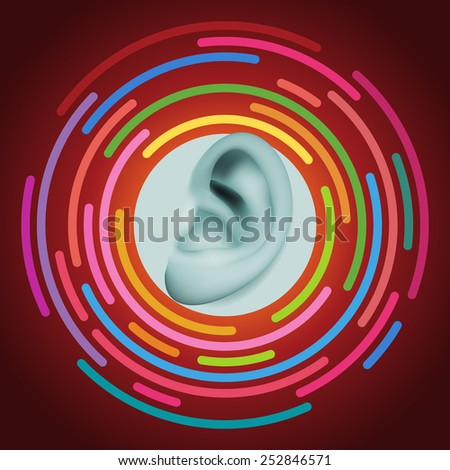 Ear and sound, eps10 vector - stock vector