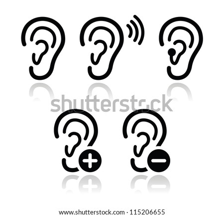 Ear hearing aid deaf problem icons set - stock vector