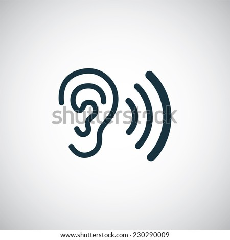 Listen Ear Icon Ear Icon on White Background