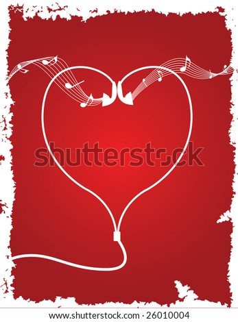 Earbuds forming the shape of a heart. - stock vector