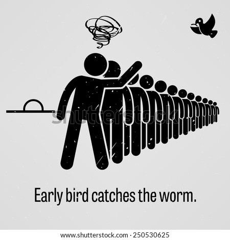 Early Bird Catches the Worm - stock vector