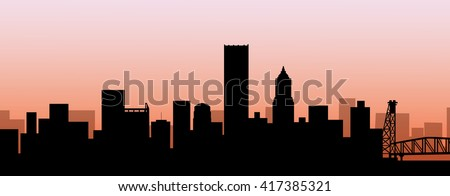 Early Morning Portland Skyline - Vector