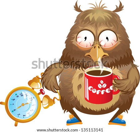 Early morning time - funny owl with cup of coffee and alarm clock in its hands - stock vector