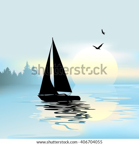 Early morning with a boat and birds - stock vector
