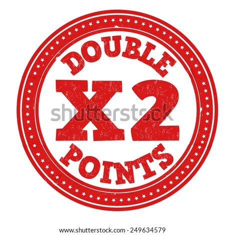 Earn x2 double points grunge rubber stamp on white background, vector illustration - stock vector