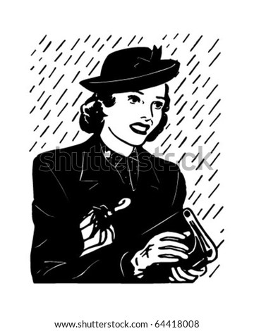 Earnest Shopper - Retro Clipart Illustration - stock vector
